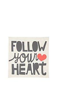 FOLLOW YOUR HEART 30X30CM WALL ART Wall Art, Heart, Hearts, Wall Decor