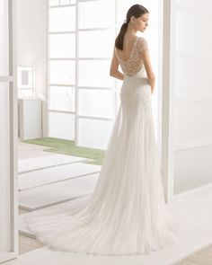 Beaded mermaid-style dress with soft tulle godets, off-the-shoulder sleeves and low back, in natural/nude.