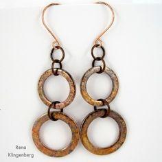 Long Rustic Copper Washer Earrings - Tutorial by Rena Klingenberg - Orecchini con le rondelle (corti e lunghi)