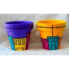 Resultado de imagen para macetas pintadas Paint Garden Pots, Painted Plant Pots, Painted Flower Pots, Painted Vases, Painting Cement, Mosaic Garden Art, Cement Pots, Clay Pot Crafts, Herb Pots
