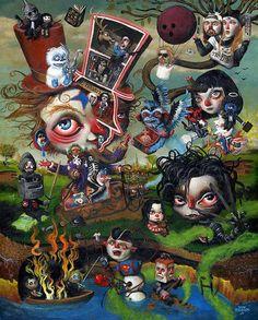 some of my favorite movies in here Willy Gets A Grenade, Mark Brown Dark Fantasy Art, Dark Art, Arte Lowbrow, Mark Brown, Cholo Art, Surrealism Painting, Modern Surrealism, Brown Art, Contemporary Paintings