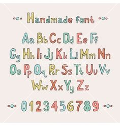 Simple colorful hand drawn font complete abc vector  - by Krolja on VectorStock®