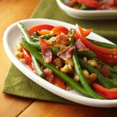 Green Beans with Bacon and Walnuts  #vegetables #myplate #protein