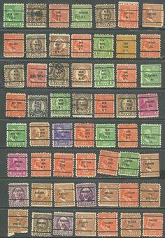US lot of 56 1938 Presidential Series # 808 -4¢ Madison, # 720 -3¢ Was precancel