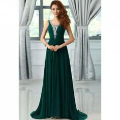 $74.75 Elegant V-Neck Rhinestone Decorated Ruffles Sweep Train Evening Dress For Women