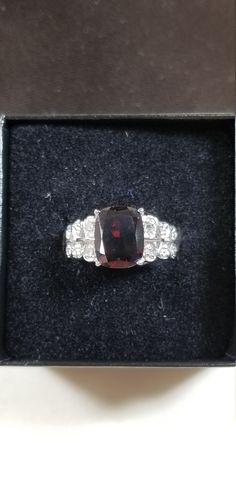Vintage Sterling Silver 3.35ct Natural Garnet Ring Size 7
