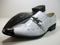 Mens White Designer Metal Tip Loafer Dress Shoes Styled in Italy