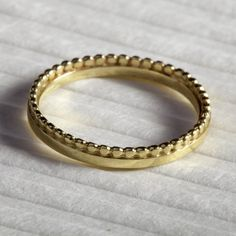 14K Yellow Gold Wedding Ring Band Stacking , Unique Wedding Rings, Unusual Wedding Rings, Wedding Rings for Women, Thin Delicate & Dots