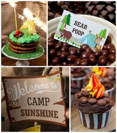 Camping themed birthday party via Kara's Party Ideas Printables, cake, decor, desserts, etc! Boy Birthday Parties, Birthday Fun, Birthday Ideas, Cake Birthday, Camping Parties, Camping Theme, Camping Lunches, Lunch Boxe, Breakfast And Brunch