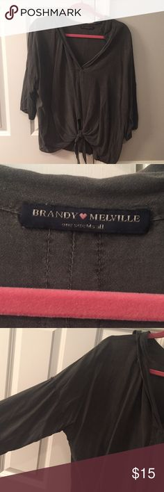 Brandy Melville grey tie front top Super soft and comfortable. Light weight and perfect for summer and fall Brandy Melville Tops Blouses