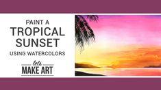 Watercolor Art Diy, Watercolor Poppies, Watercolor Sunset, Watercolor Projects, Watercolour Tutorials, Watercolor Paintings, Tree Painting Easy, Let's Make Art, Art Tutorials