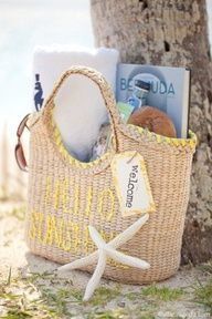 Welcome basket for guests to a beach wedding