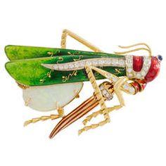 1970's Gold Grasshopper Brooch, Opal, Diamond and Sapphire