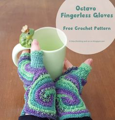 Octavo Fingerless Glove - Free crochet pattern.  Converted from a knit pattern.  You crochet them flat and then edges are sewn together.