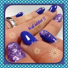 Nail addict - nail art - glitter - gel - almond nails - purple - kikko
