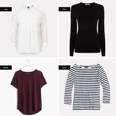 The key to a successful capsule wardrobe is to have foundational items that are 1) versatile, 2) flattering, and 3) classic. When you have these base items, you will never run out of things to wear, and you will end up buying less because you won't be trying to fill that unidentifiable void in your closet. Here are the essential pieces (tops, bottoms, jackets, and shoes) to build your wardrobe.