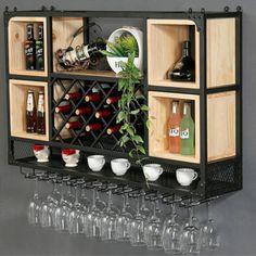 Wine Rack Wall Hanging, Wine Cabinet Wall Shelf, Wrought Iron Wood Bar Restaurant Wine Lattice, Diamond Shaped Home Wine Rack