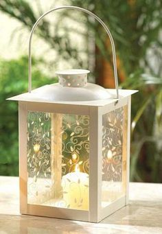 Large Ivory Color Glass Lantern - Best-Decor.com-great place to buy wedding supplies