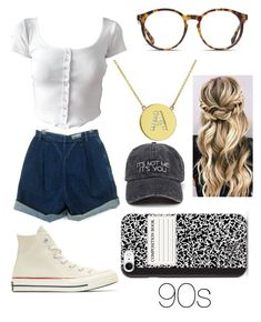 """""""90s"""" by claudia-bowling ❤ liked on Polyvore featuring Converse, Jennifer Meyer Jewelry and O'Neill"""