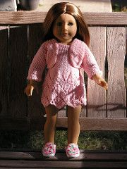 """This bolero fits an American Girl Doll / or any 18"""" doll.The pattern is knitted top down in a raglan shape."""