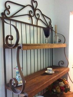 Gorgeous Rustic Wrought Iron and Wood Baker's Rack by JoyzGems, $650.00
