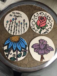Seaman High School Intro to pottery. Ceramic coaster set.