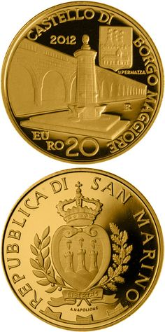 N♡T.20 euro: Architectural Elements.Country:	 San Marino Mintage year:	2012 Issue date:	14.11.2012 Face value:	20 euro Diameter:	21.00 mm Weight:	6.45 g Alloy:	Gold Quality:	Proof Mintage:	1,600 pc proof Design:	Antonella Napolione-Uliana Pernazza