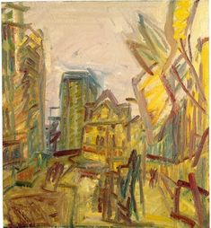 'Mornington Crescent Looking South' by British painter Frank Auerbach Oil on canvas, x cm. via a long time alone Frank Auerbach, Urban Landscape, Abstract Landscape, Painting Collage, Van Gogh, Art Inspo, Oil On Canvas, Graphic Art, Contemporary Art