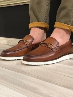 Buckle Detail Calf-Leather Shoes Tan – BOJONI Tan Loafers, Tan Shoes, Oxford Shoes, Dress Shoes, Stylish Shoes For Men, Casual Leather Shoes, Kurta Designs, Shoe Size Chart, Types Of Shoes