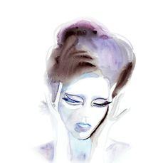 "Sad eyes painting, Velvet girl painting, Beautiful woman fine art by Elena romanova 13""x19""  painting for sale by FairySomnia art shop. $85.00, via Etsy."