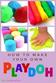 How to Make Playdough | Homemade Playdough Recipes - FamilyEducation.com 1 cup cold water 1 cup salt 2 teaspoons vegetable oil 3 cups flour 2 tablespoons cornstarch Tempera paint or food coloring First mix all liquids and then gradually add the rest till doughy.