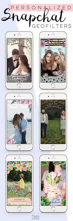 Custom Personalized Snapchat Geofilter, Wedding, Bachelorette, Birthday, Baby Shower, Bridal Shower, Event Planning - via TWG Designs