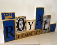 Items similar to Kansas City Royals Word Blocks - KC Wooden Block Set - KC Father's Day on Etsy Royal Words, Kc Royals Baseball, Ku Football, Rockies Baseball, Royal Craft, Baseball Crafts, Baseball Quotes, Baseball Stuff, Word Block
