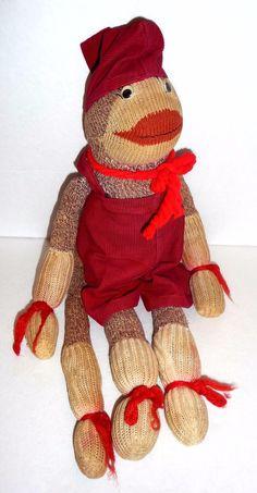 Vintage Sock Monkey Doll Red Corduroy Jumper Hat Outfit Googly Eyes   eBay