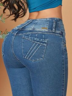'Admire Me' Butt Lift Levanta Cola Jeans 12600 – Colombiana Boutique Brazilian Pants, Dark Blue Skinny Jeans, Cute Fall Outfits, Best Jeans, Jeans Brands, Girls Jeans, Body, Clothes, Boutique