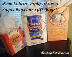 Make these cute gift bags out of your old flour, sugar, and corn meal bags =)  #burlapkitchen.com Feed Bag Tote, Feed Sack Bags, Burlap Kitchen, Plastic Shopping Bags, Produce Bags, Bag Packaging, Types Of Bag, Craft Gifts, Diy Gifts