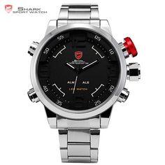 Hot Deals $41.82, Buy Gulper SHARK Sport Watch Brand Mens Black Luxury Full Steel Band Digital Calendar Wristwatches Quartz Relogio Masculino /SH103