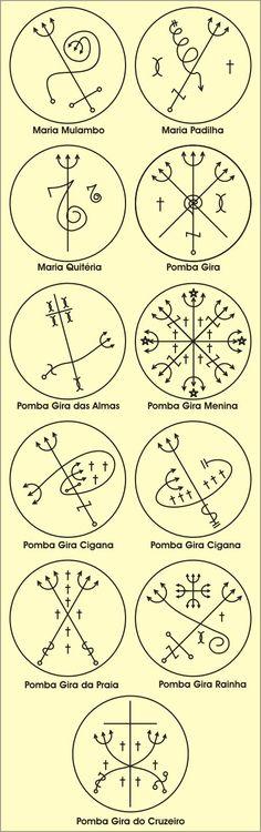 Pontos Riscados are sigils used in ritual to invoke the Orixas (gods). Esoteric Symbols, Religious Symbols, Tattoo Maria, Runas Futhark, Alphabet Signs, Male Witch, Book Of Shadows, African Art, Deities