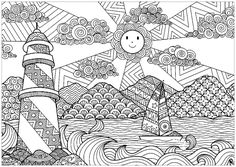 Seascape with lighhouse and sun - Landscapes Coloring Pages for Adults - Just Color Adult Coloring Book Pages, Colouring Pages, Printable Coloring Pages, Coloring Books, Doodle Art Drawing, Zentangle Drawings, Art Drawings, Zen Doodle Patterns, Zentangle Patterns
