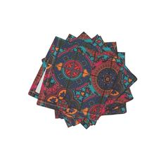 Frizzle Cocktail Napkins featuring COLORFUL AZULEJOS STYLE TILES RED PINK BLUES by paysmage | Roostery Home Decor