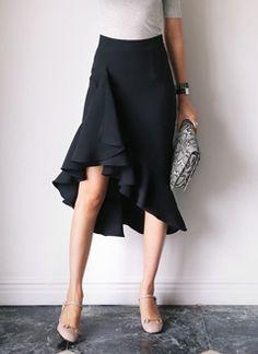 フィッシュテールラッフルスリムフィットスカート・全3色ワンピース・スカートスカート|レディースファッション通販 DHOLICディーホリック [ファストファッション 水着 ワンピース]