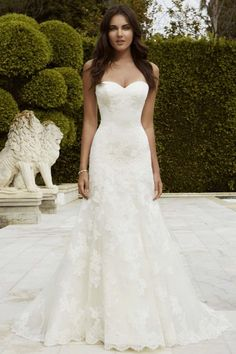 Simple Ivory Trumpet/Mermaid Sweetheart Sweep/Brush Train Lace Fabric Designer Wedding Dresses with Appliques Style yw615112409