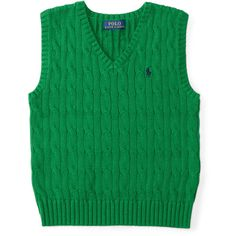 Cable-Knit Cotton Sweater Vest ❤ liked on Polyvore featuring outerwear, vests, sweater vest, green vest, green waistcoat, cable knit vest and green sweater vest