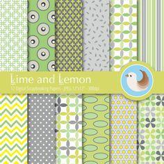 Green Digital Paper  Lime and Lemon Digital Paper by CinnamonDove