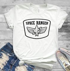Space ranger shirt, toy story shirt in 2019 Disney World Shirts, Disney Tees, Disney Diy, Disney Apparel, Cute Disney Shirts, Disney Crafts, Walt Disney, Disneyland Outfits, Disney Outfits