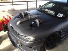 #nissan #silvia #s13 #s14 #s15 #240sx #slammed #stance #twin #turbo Have some silvia with your turbo. o_o