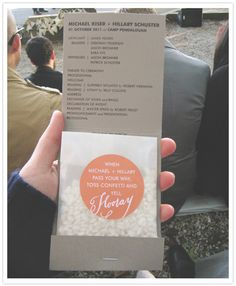 matchbook programs with confetti - very similar to our wedding programs! Camp Wedding, Diy Wedding, Wedding Events, Rustic Wedding, Wedding Day, Wedding Photos, Wedding Ceremony, Spring Wedding, Wedding Rice