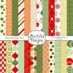 Christmas Digital Scrapbooking Papers - Holly Jolly (367)