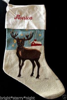 Pottery Barn Crewel Embroidered Christmas Stocking Reindeer Monica Blue New | eBay
