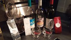 What some of our guests sample at our tastings! Three wines, two coffees and teas.